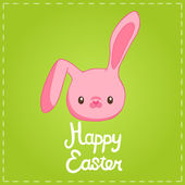 Easter background with cartoon cute bunny — 图库矢量图片