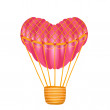Stock Vector: Hot air heart shaped balloon