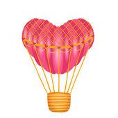 Globo de aire caliente en forma de corazón — Vector de stock