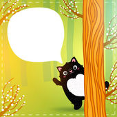 Cute cartoon fat black cat in the fairy forest — Stock Vector