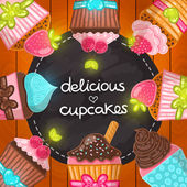 Muffin set. Cupcake frame. — Stock Vector