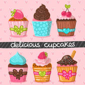 Muffin set. Cupcake set. — Stock Vector