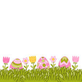 Beautiful Easter background with easter eggs — Stock Vector