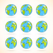Cute funny cartoon Earth globe — Stock Vector