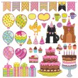 Happy Birthday party elements set — Stock Vector