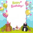 Happy Birthday card with  cat, dog and cupcakes. — Stock Vector #43682765
