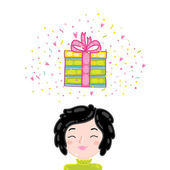 Girl and Happy Birthday present gift box — Vector de stock