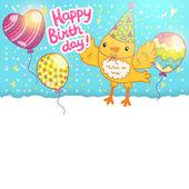 Carte de joyeux anniversaire avec un oiseau. — Vecteur