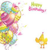 Happy Birthday postcard  with a bird. — Stock Vector