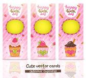 カップケーキのかわいい漫画の誕生日カード. — ストックベクタ