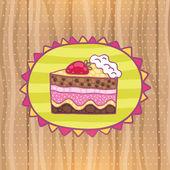 Artoon kutlu olsun Çilekli pasta. — Stok Vektör
