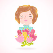 Cartoon woman with flowers — Stock Vector