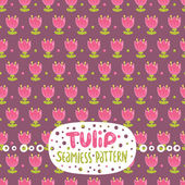 Cartoon tulip seamless pattern — Stock Vector