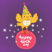 Happy Birthday card background with a bird — Stock Vector