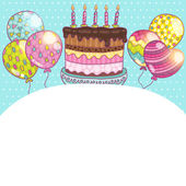 Happy Birthday card background with cake — Stock Vector