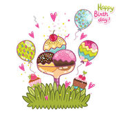 Happy Birthday card background ice cream — Vecteur
