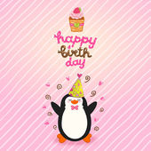 Happy Birthday card background with cute penguin — Stock Vector