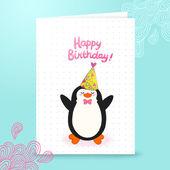 Grattis på födelsedagen-kort bakgrund med söta pingvin — Stockvektor