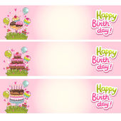 Happy Birthday card background with cakes and ice cream — Vector de stock