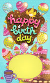 Happy Birthday card background with cake, balloons and cupcakes — Stockvektor