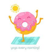 Cute donut doing yoga in the morning — Stok Vektör
