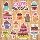 Muffin, Cupcake, pie, cake, tea set — Stock Vector