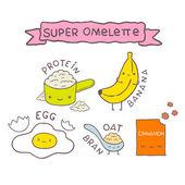 Cute cartoon Super omelette recipe — Stockvektor
