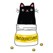 Cat and antidepressant. — Stock Vector