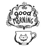 Good morning sketch with cup of coffee and cat — Stock Vector