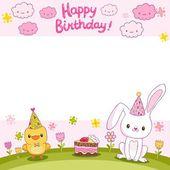 Tarjeta del feliz cumpleaños con un conejo y ave — Vector de stock
