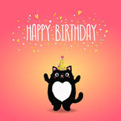 Happy Birthday card with cat — 图库矢量图片