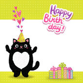 Happy Birthday card with cat — Stockvektor