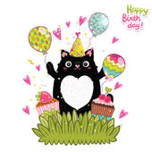 Happy Birthday card with cat — ストックベクタ