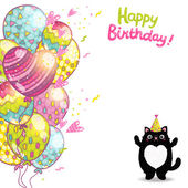 Happy Birthday card with cat — Vecteur