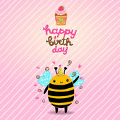 Happy Birthday card with bee — Stock Vector