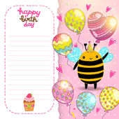 Happy Birthday card with bee — Cтоковый вектор