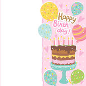 Happy Birthday card with cake — Stock Vector