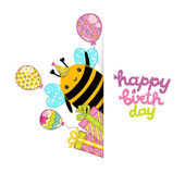 Happy Birthday card with bee — Stok Vektör