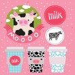 Cute milk and cow set of hand drawn illustration — Stock Vector