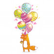 Happy Birthday card background with cute cartoon hipster fox — Stock Vector #48562363