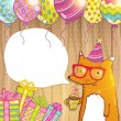 Happy Birthday card background with cute cartoon hipster fox — Stock Vector #48562421
