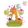 Happy Birthday card background with cute cartoon hipster fox — Stock Vector #48562481