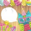 Happy Birthday card background with cute cartoon owl — Stock Vector #48564025