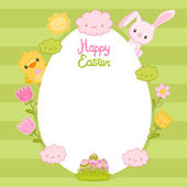 Happy Easter card with egg frame, bunny, bird, flowers and clouds — Stock Vector
