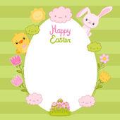 卵のフレーム、ウサギ、鳥、花および雲とハッピー イースター カード — ストックベクタ