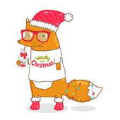 かわいいヒップスター漫画ミルクとサンタ クロースの帽子とクリスマスのフォックス — ストックベクタ