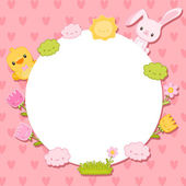 Cute lovely card with bunny, bird, flowers and clouds — Cтоковый вектор