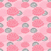 Cartoon brain seamless pattern — Stok Vektör