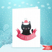 Merry Christmas greeting card background with a black cat — Stock Vector