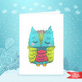 Merry Christmas greeting card background with an owl — Vecteur